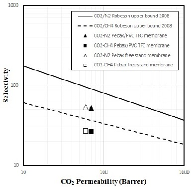 Preparation of Poly(ether-6-block amide)/PVC Thin Film Composite Membrane for CO2 Separation: Effect of Top Layer Thickness and Operating Parameters